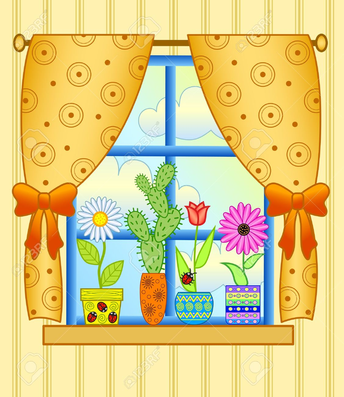 Window curtain clipart.