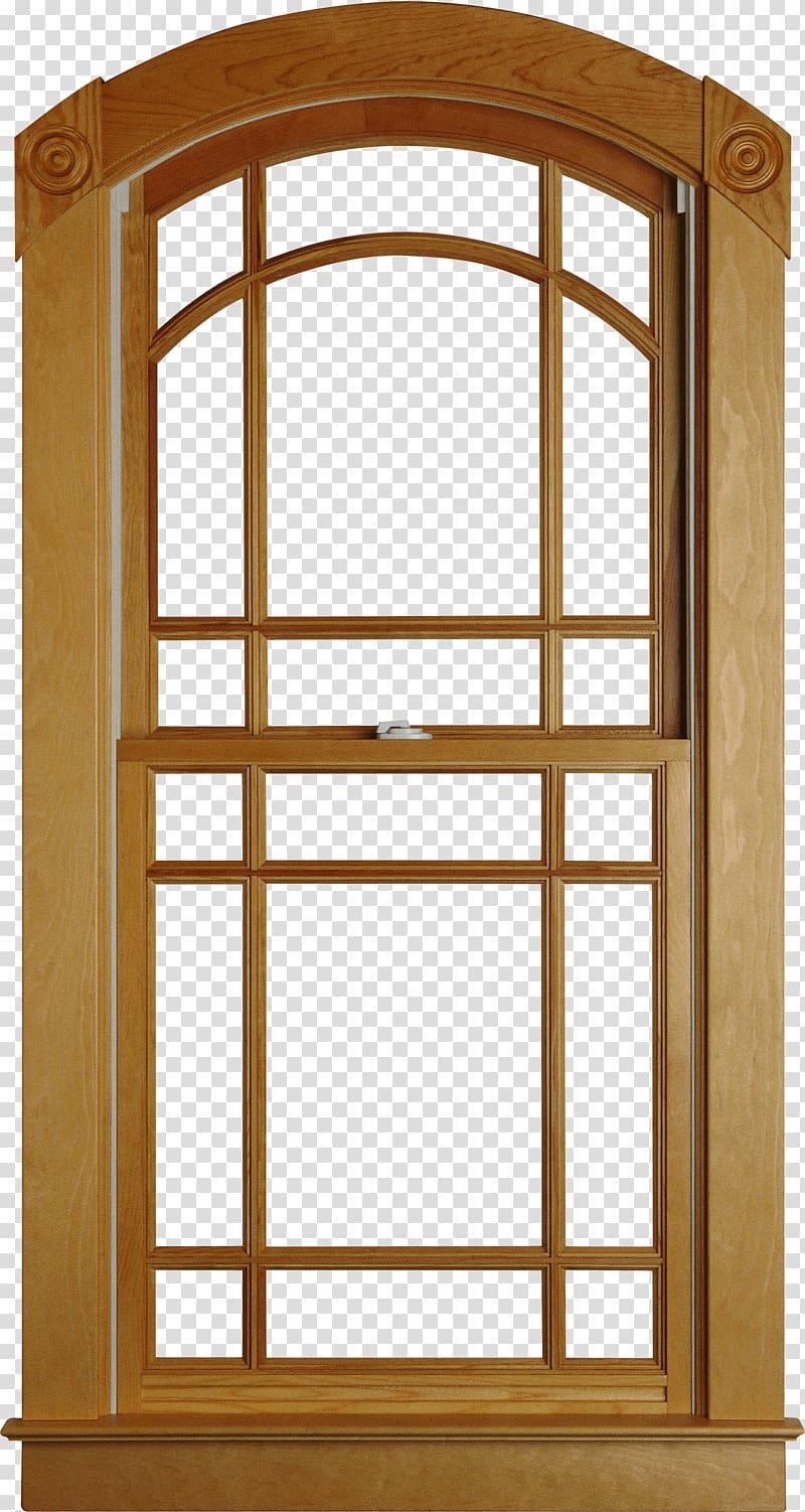 Brown wooden window frame illustration, Window Interior.