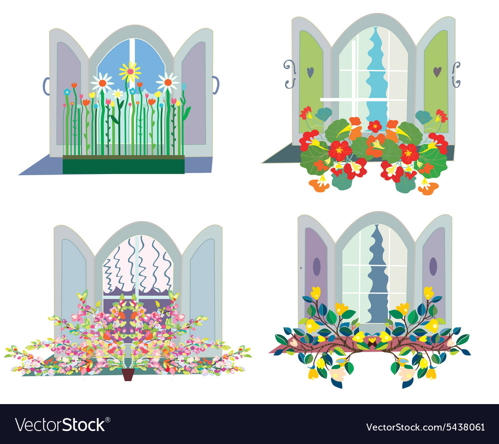 Windows with flowers box design set.
