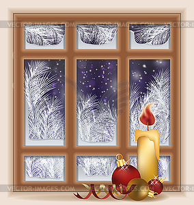 Holiday frosted window with candle and xmas balls, vect.