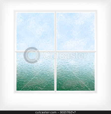 Frosted glass window stock vector.