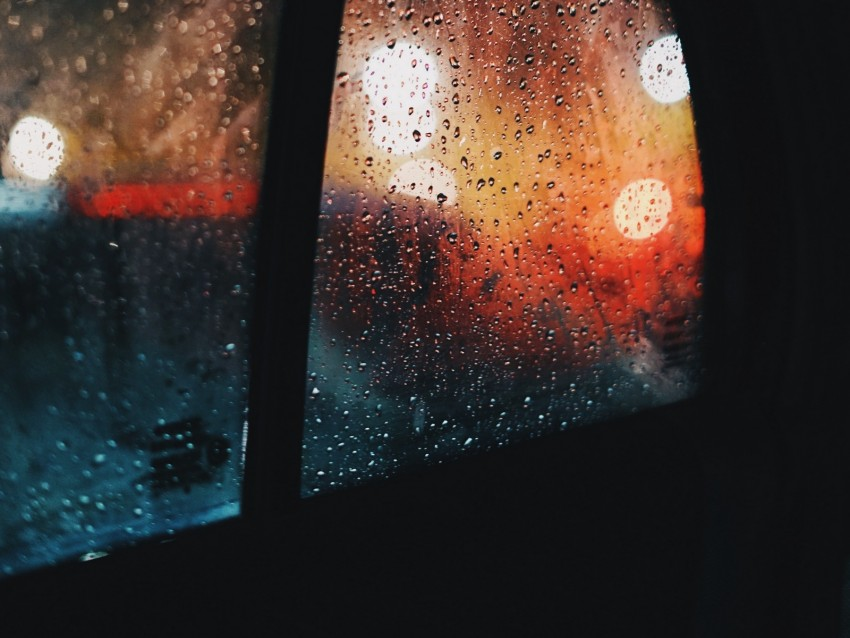 window, rain, drops, car, glass, glare background.
