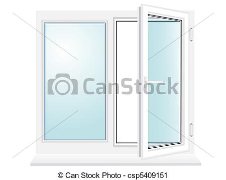 Clipart of open plastic glass window illustration.