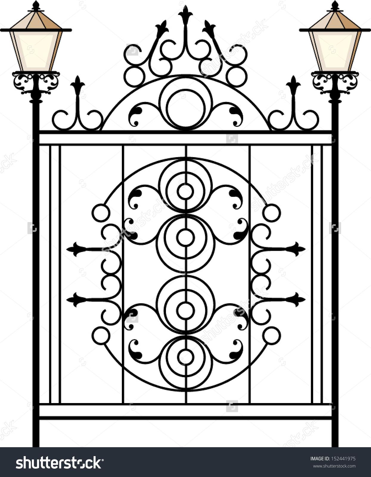 Wrought Iron Gate Door Fence Window Stock Vector 152441975.