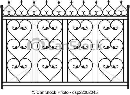 EPS Vector of Wrought Iron Gate, Door, Fence, Window, Grill.