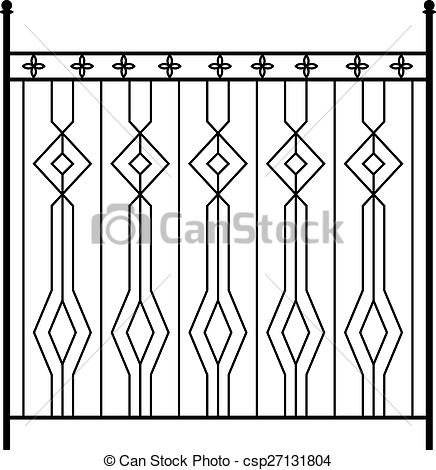 Vector Clipart of Wrought Iron Gate, Door, Fence, Window, Grill.