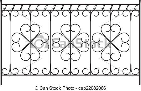 Clip Art Vector of Wrought Iron Gate, Door, Fence, Window, Grill.