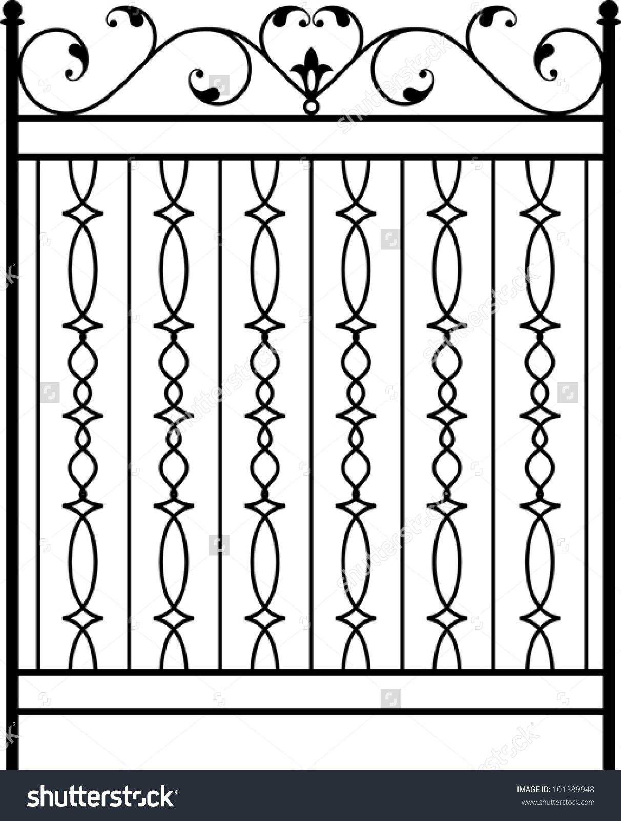 Wrought Iron Gate Door Fence Window Stock Vector 101389948.