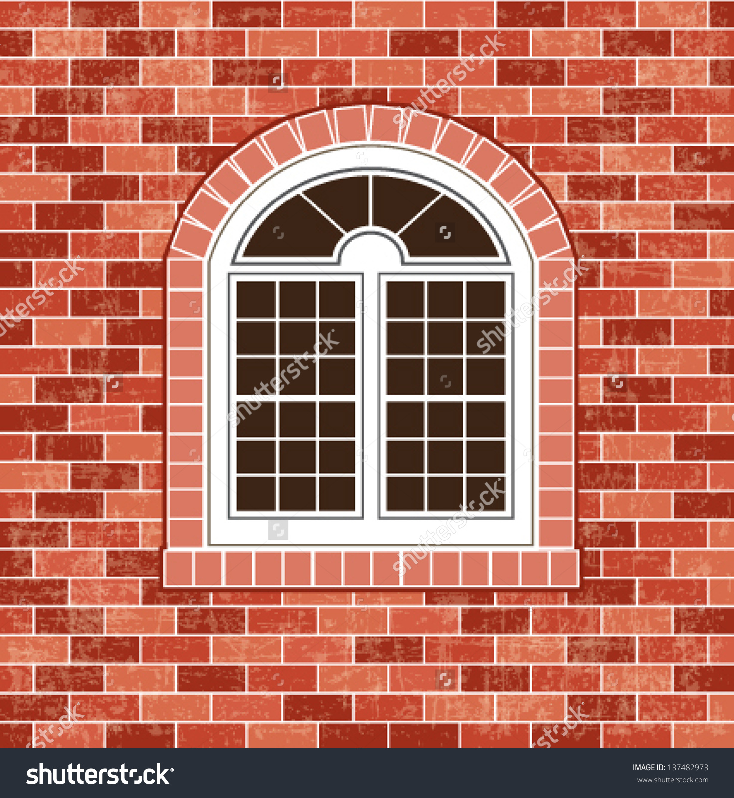 Window On Brick Wall Background Stock Vector 137482973.