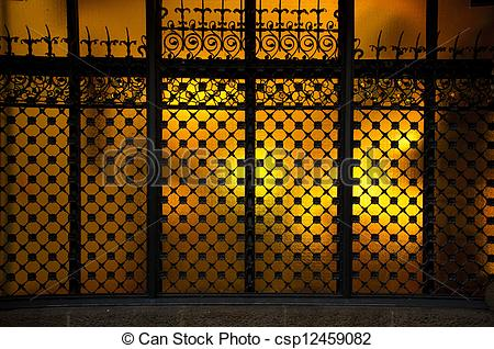 Pictures of Decorative metal grating on window csp12459082.