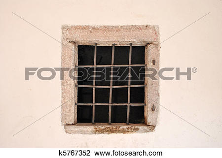 Clip Art of window with iron bars k5767352.