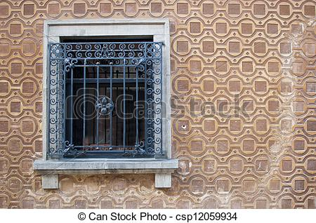 Stock Photos of House window with grating.