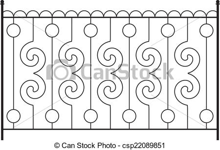 Clipart Vector of Wrought Iron Gate, Door, Fence, Window, Grill.