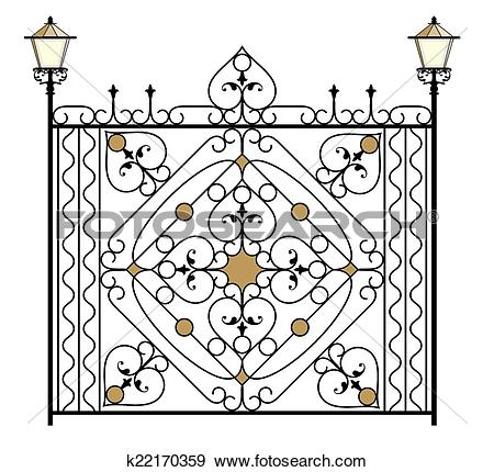 Clip Art of Wrought Iron Gate, Door, Fence, Window, Grill, Railing.