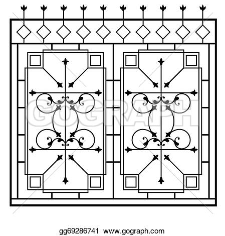 Window Grill. Eps Vector Wrought Iron Gate Door Fence Window Grill.