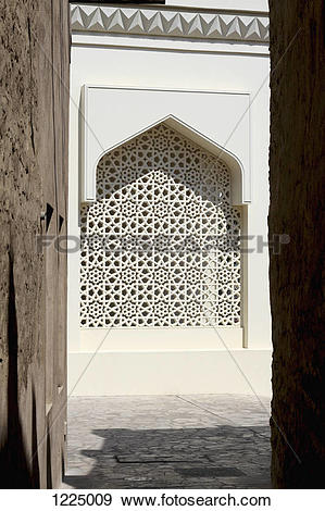 Stock Photograph of Arabesque lattice window in Dubai, United Arab.