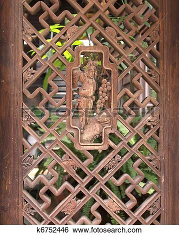 Stock Images of Old Chinese Wooden Lattice Window k6752446.