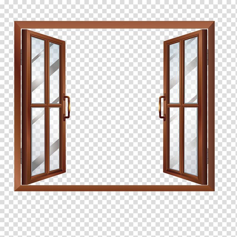 Brown framed glass windowpane illustration, Window House.