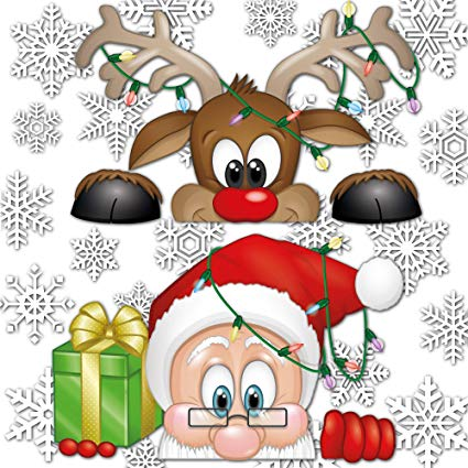 Amazon.com: Peeping Santa and Rudolph Window Clings.