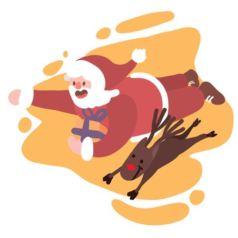 Santa flying with rudolph the red nose raindeer to deliver.