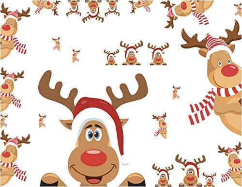 Mozamy Creative Reindeer Decals Christmas Wall Decals.