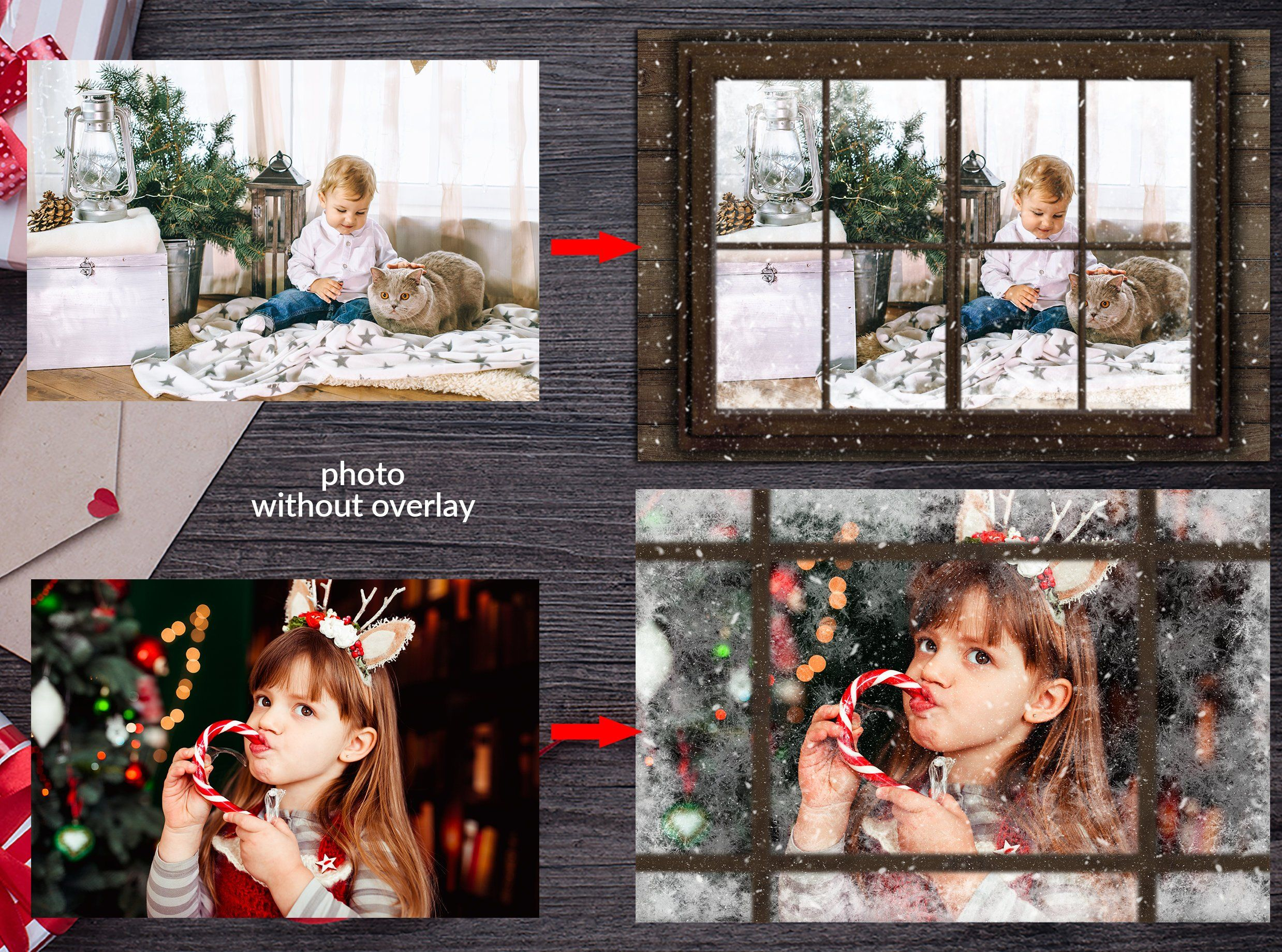 Christmas Window photo overlay template, PNG, Photoshop.