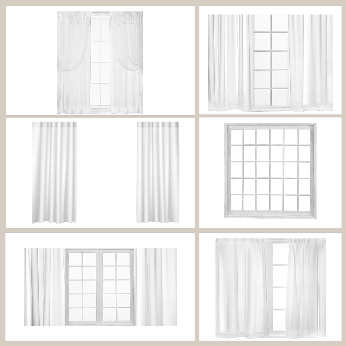 White Curtains & Window Overlays.