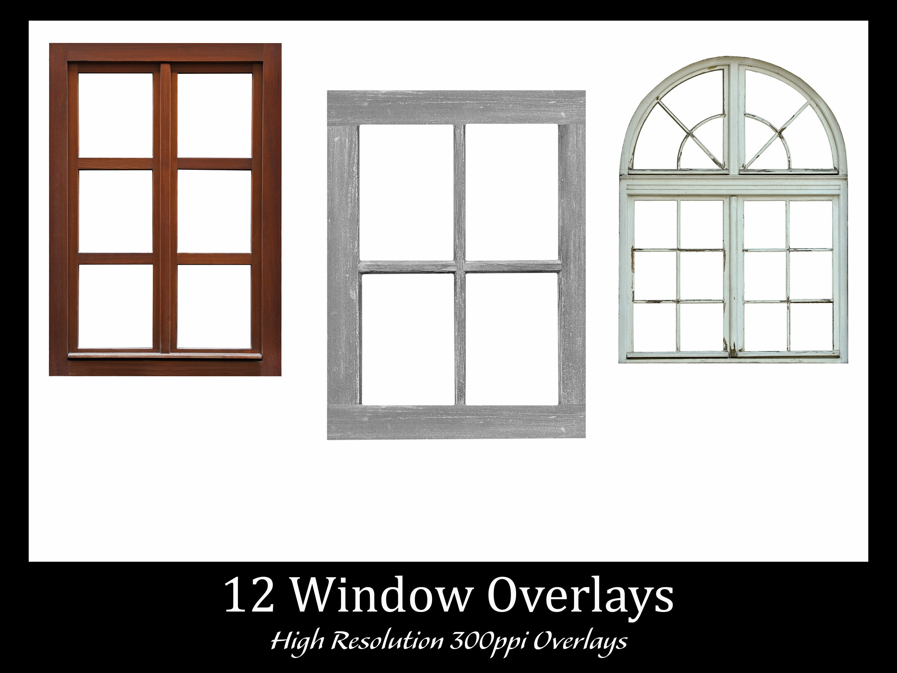 12 Window Overlays, Separate PNG Files with Transparent Backing, High  Resolution, Instant Download..