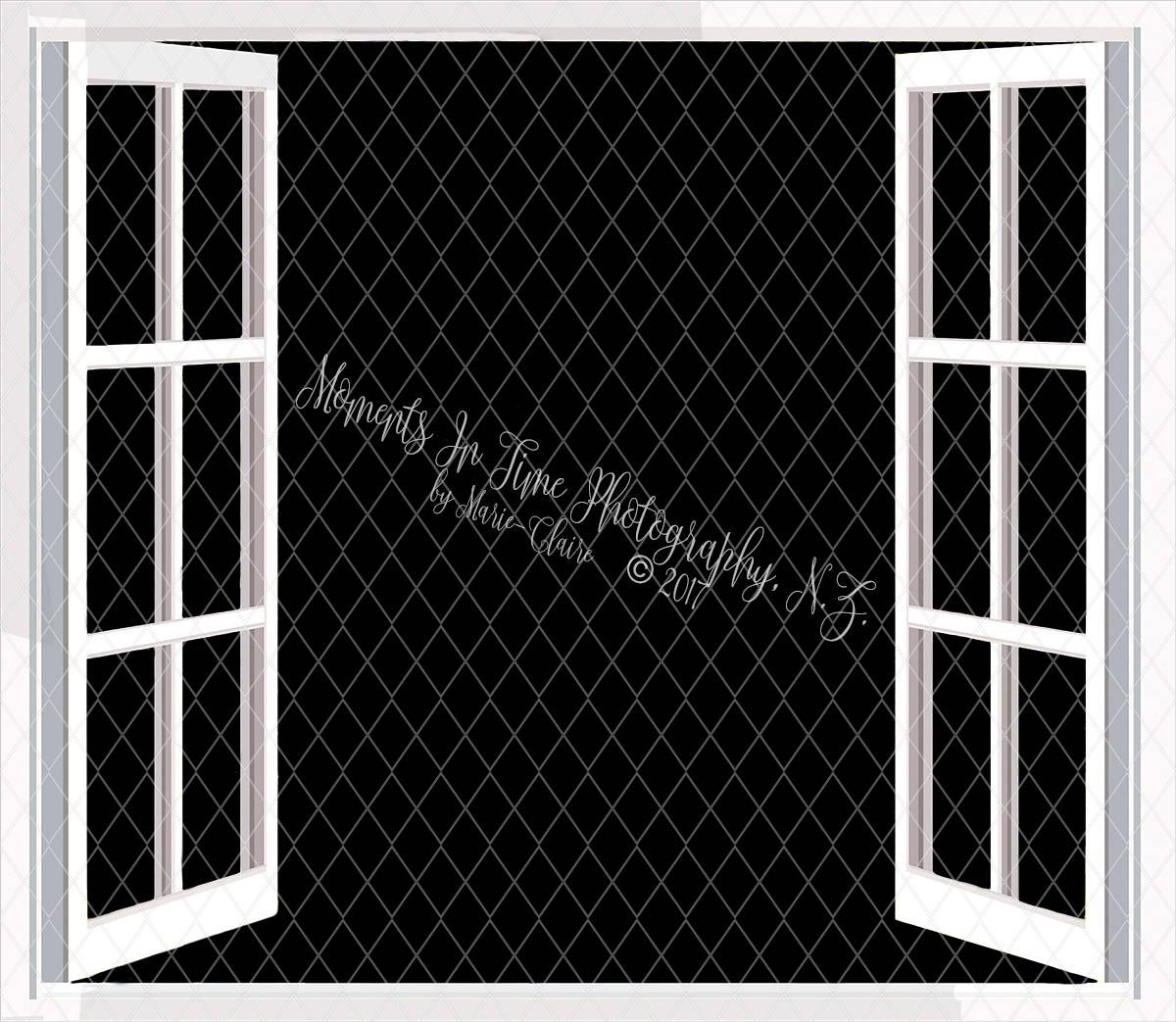 White Open Window Frame Digital Overlay.