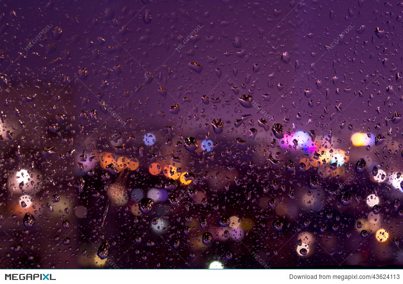 Night Rainy Drops On A Window Pane Stock Photo 43624113.
