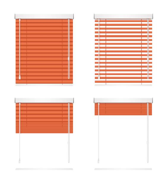 Realistic Red Window Jalousie Roller Shutters Blind Set. Vecto.