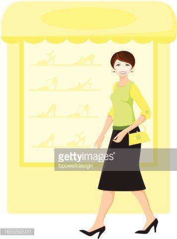 Window Shopping Clipart Image.