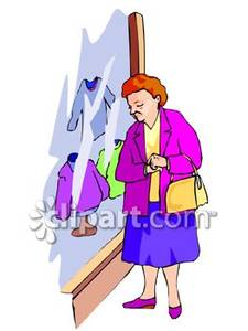 Elderly Woman Window Shopping.