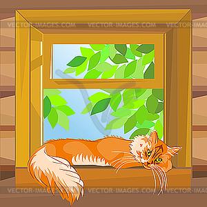 Cat In Window Clipart.
