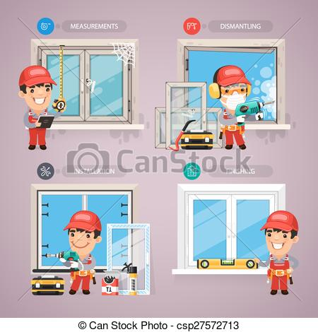 Vector Clip Art of Window Installation Step by Step with Handyman.