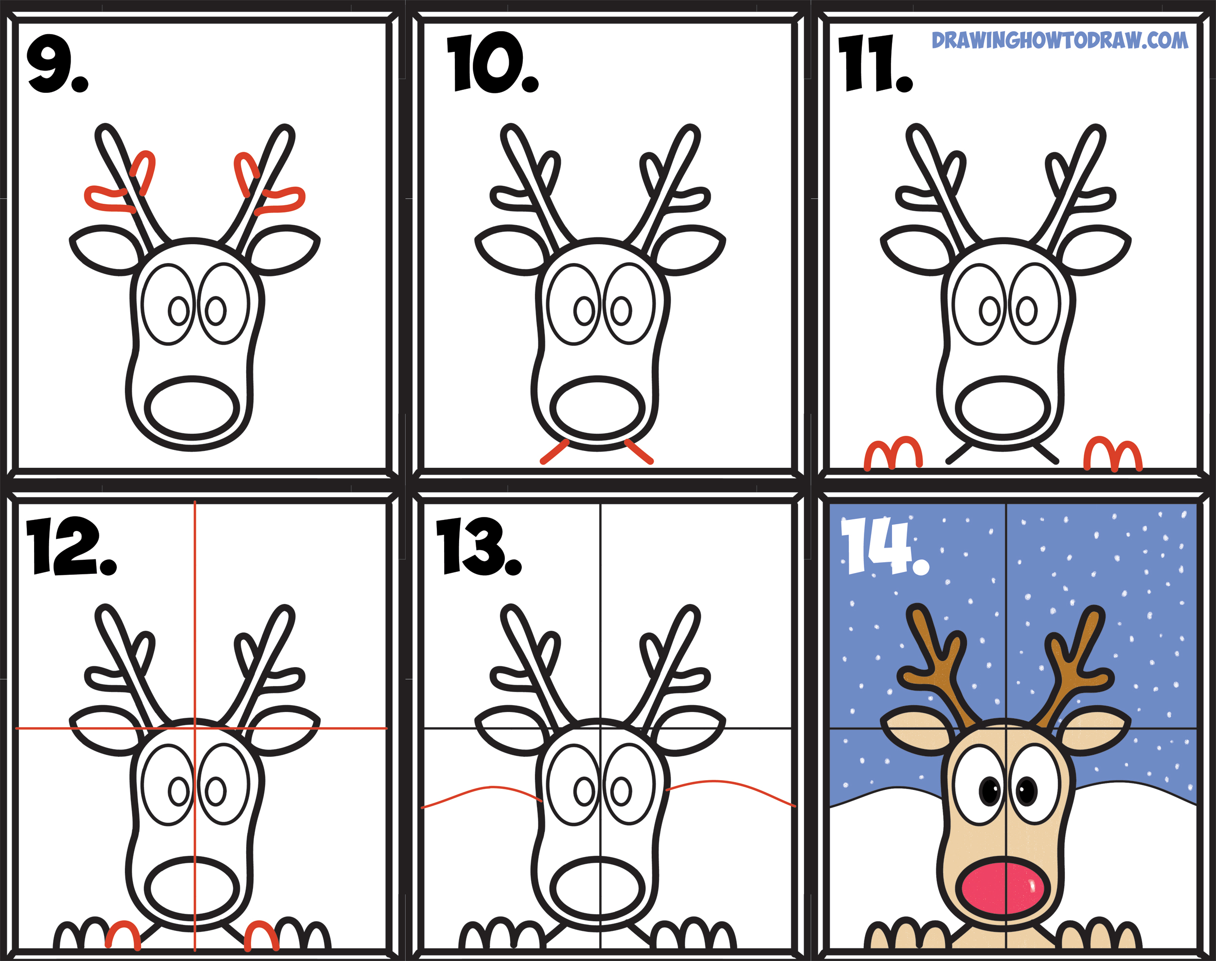 How to Draw Rudolph the Red Nosed Reindeer Looking in Window Easy.
