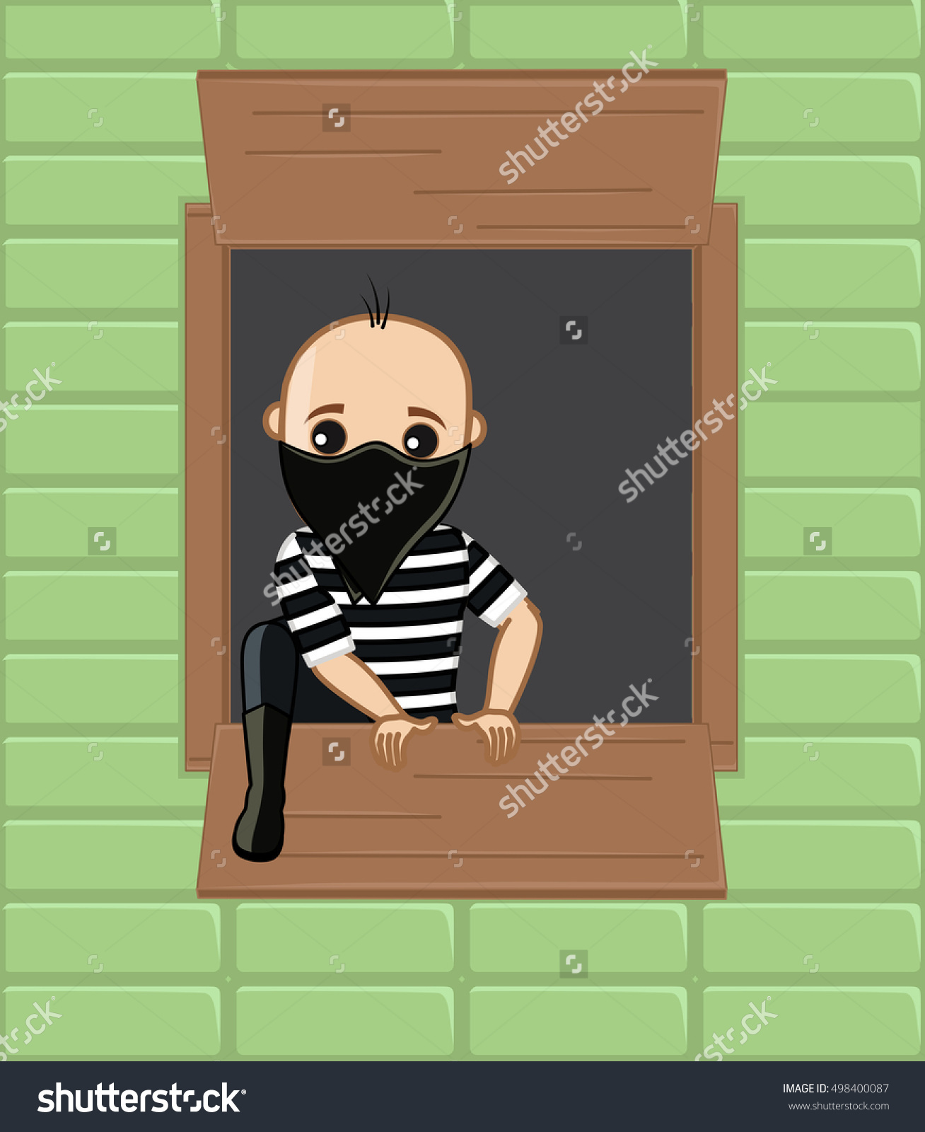 Thief Trying To Step Out From House Window Stock Vector.