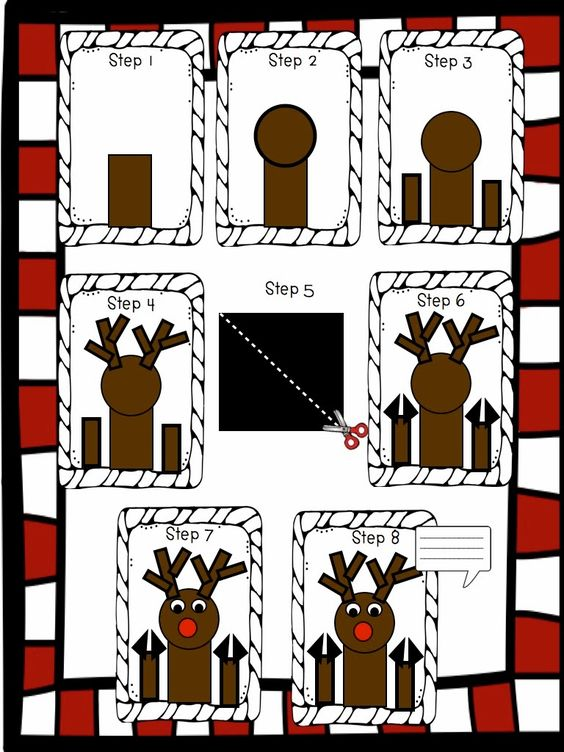Step by step illustrations for creating Rudolph in the Window.
