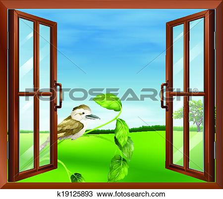 Clipart of A window with a view of the bird outside k19125893.
