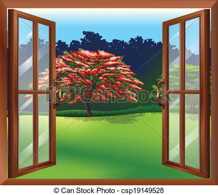 Vector Illustration of An open window with a view of the big tree.