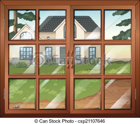 EPS Vector of A closed window with a view of the house outside.