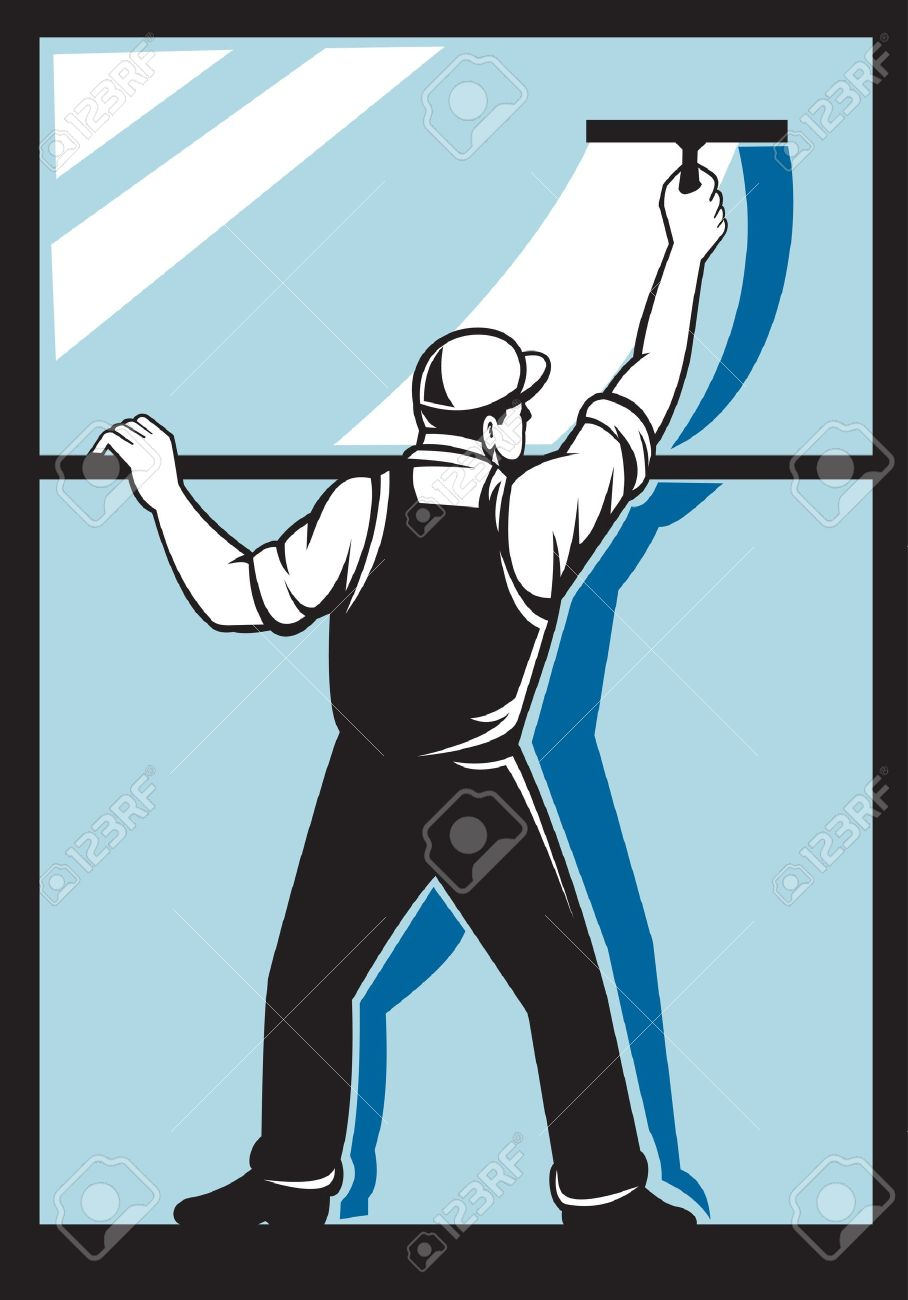 Illustration Of A Window Washer Worker Washing Viewed From Rear.