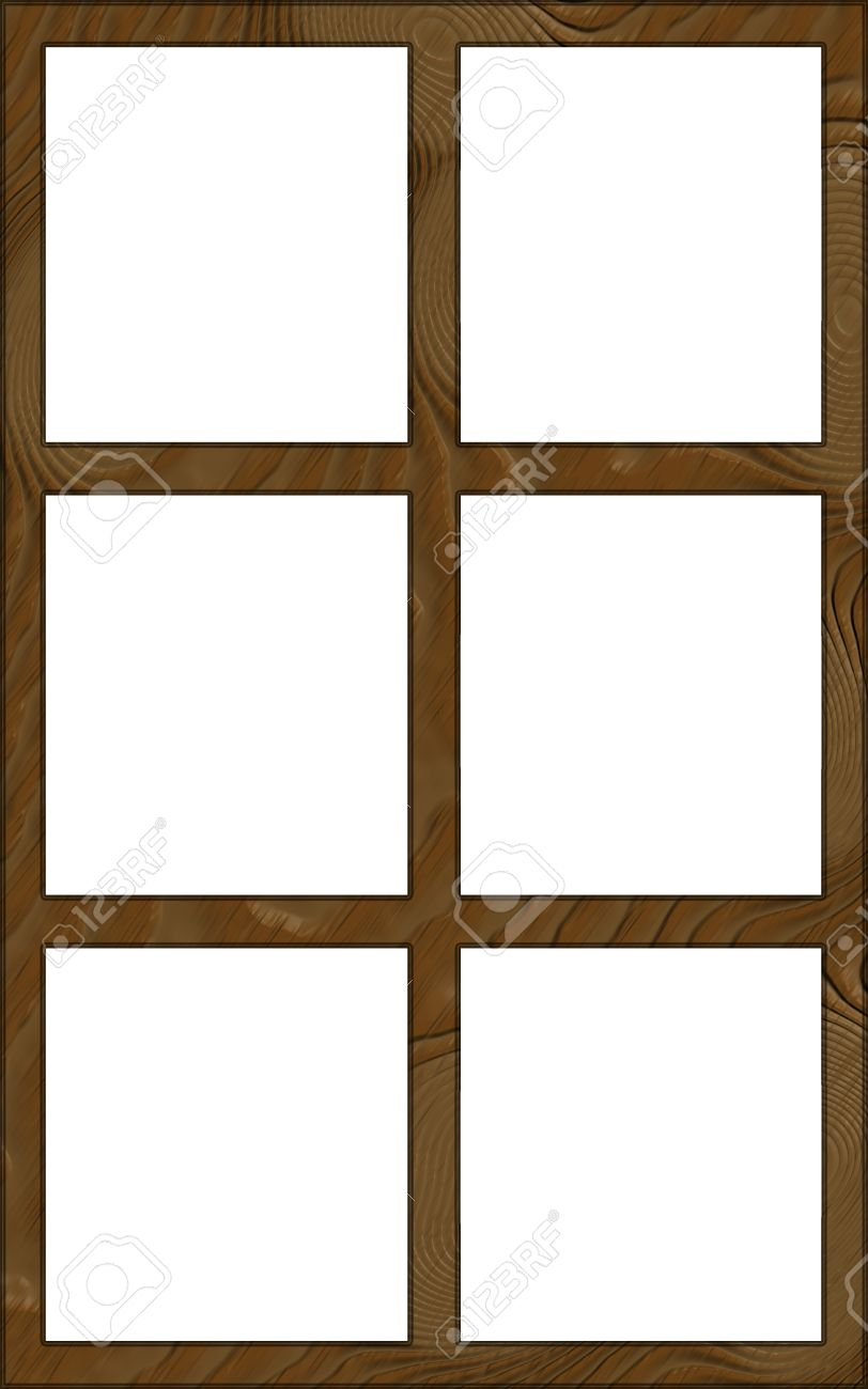 isolated single layered contoured wooden six window wide frame