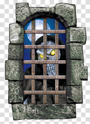 Reaper behind window with bars illustration transparent.
