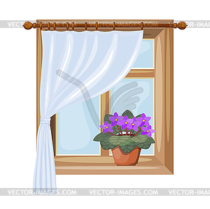 Color window with curtains. window with flower of.