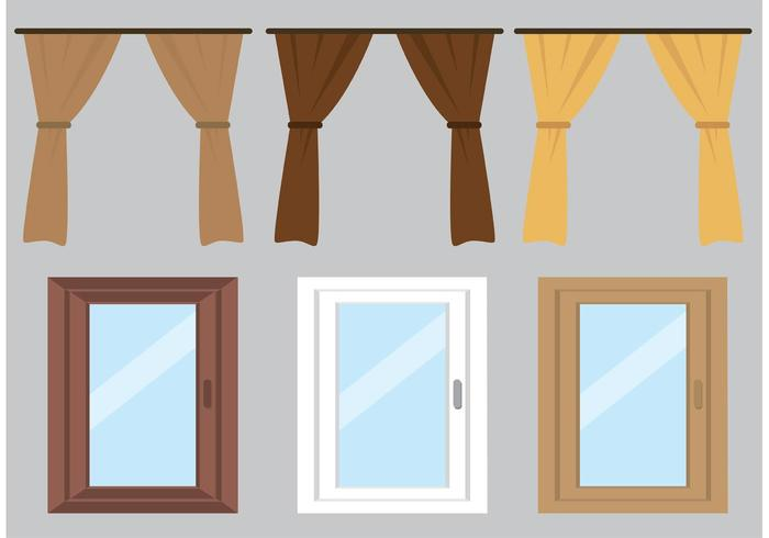 Free Vector Curtain and Windows.