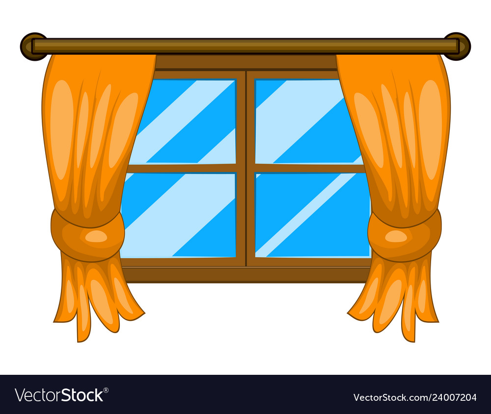 Cartoon window with curtains symbol icon design.