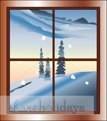Snowy Window Clipart.