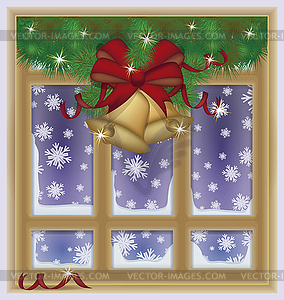 Winter Christmas snow window, vector illustration.