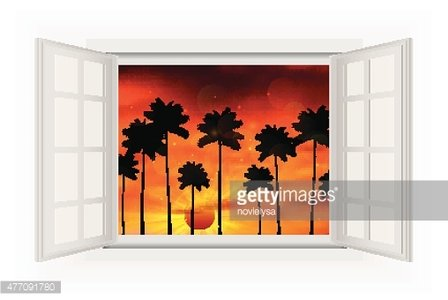 Open window with palm tree view of sunset Clipart Image.